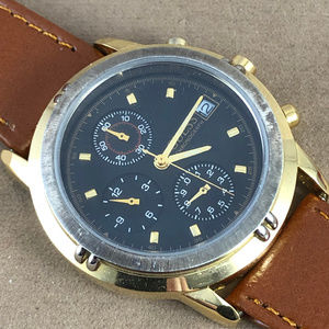 Vintage Guess Chronograph Gold Watch Tan Strap